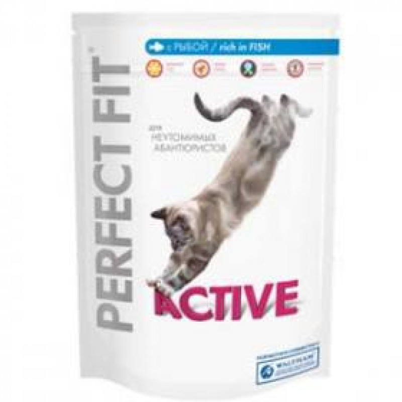 Perfect Fit Active Рыба Корм для активных кошек с рыбой 750 г