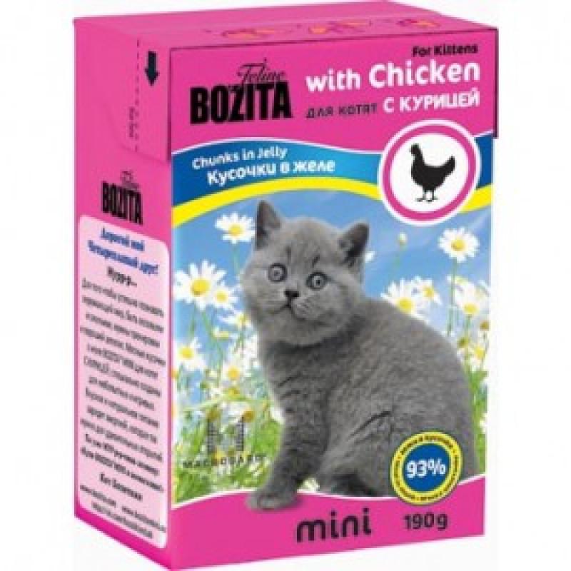 Bozita Mini with Chicken Мясные кусочки в желе для котят с курицей 190г