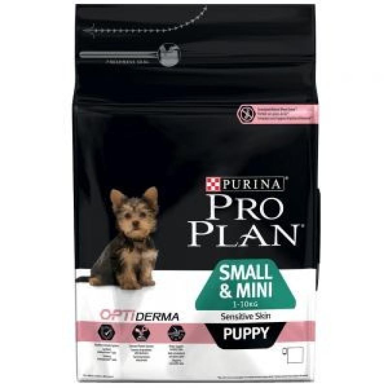 Pro Plan Small & Mini Puppy Sensitive Skin Корм сухой для щенков мелких и карликовых пород с чувствительным пищеварением и кожей лосось с рисом