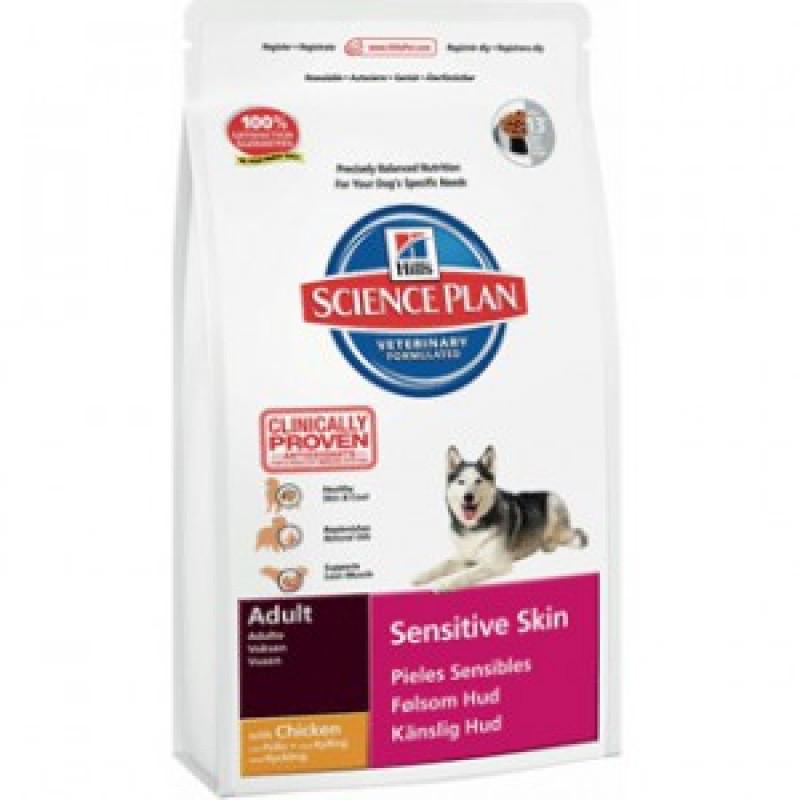 Hill`s Adult Sensitive Skin Корм для собак с чувствительной кожей, улучшение состояния кожи и блеска шерсти 12кг