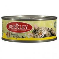 Беркли Консервы для кошек Тунец, Овощи 100гр , УПАКОВКА 6ШТ