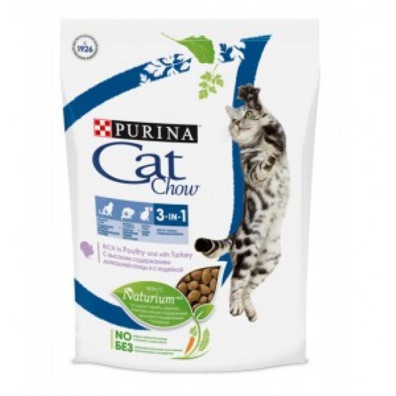Cat Chow Feline 3 в 1 Сухой корм для кошек с индейкой