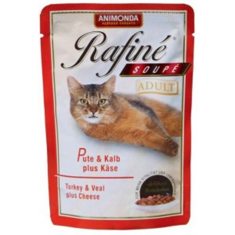 Animonda Rafine Soupe Adult Паучи для кошек коктейль из мяса индейки, телятины и сыра