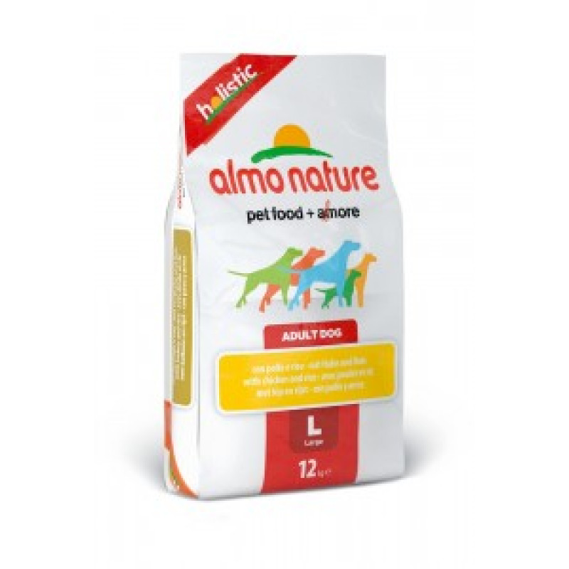 Almo Nature Holistic Сухой корм для взрослых собак крупных пород с курицей 12кг