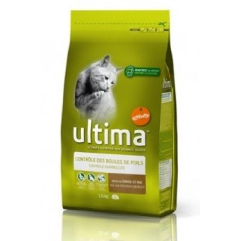 Ultima Hairball  Сухой корм для кошек, выведение волосяных комочков, индейка с рисом 350 г