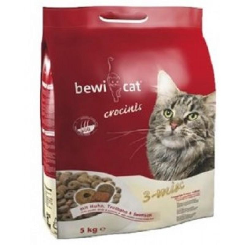 Bewi cat Crosinis Сухой корм для взрослых кошек, смесь из трех видов крокет (птица, индейка, рыба)