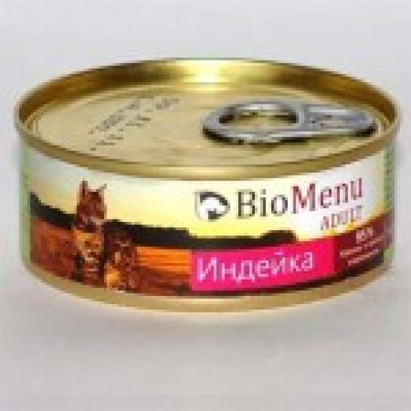 BioMenu Adult Turkey Консервы для кошек мясной паштет с Индейкой 95% - мясо