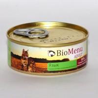 BioMenu Adult Язык Консервы для кошек мясной паштет с Языком 95% - мясо