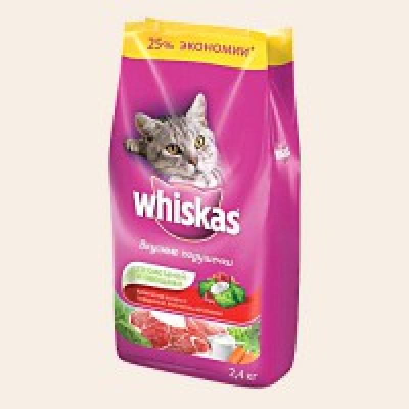 Whiskas Подушечки со Сметаной и Овощами Корм для кошек из говядины, ягненка и кролика 1,9 кг