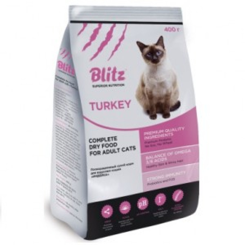 Blitz Adult Cats Turkey Сухой корм для кошек с индейкой 2 кг