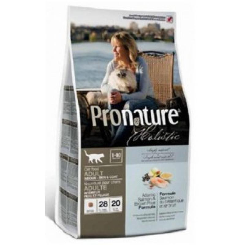 Pronature Holistic  Сухой корм для кошек, для кожи и шерсти Лосось с рисом 2,72кг