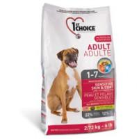 1st Choice Adult All Breeds Sensitive Skin Coat Корм для собак с чувствительной кожей и для шерсти, ягненок+рыба+рис