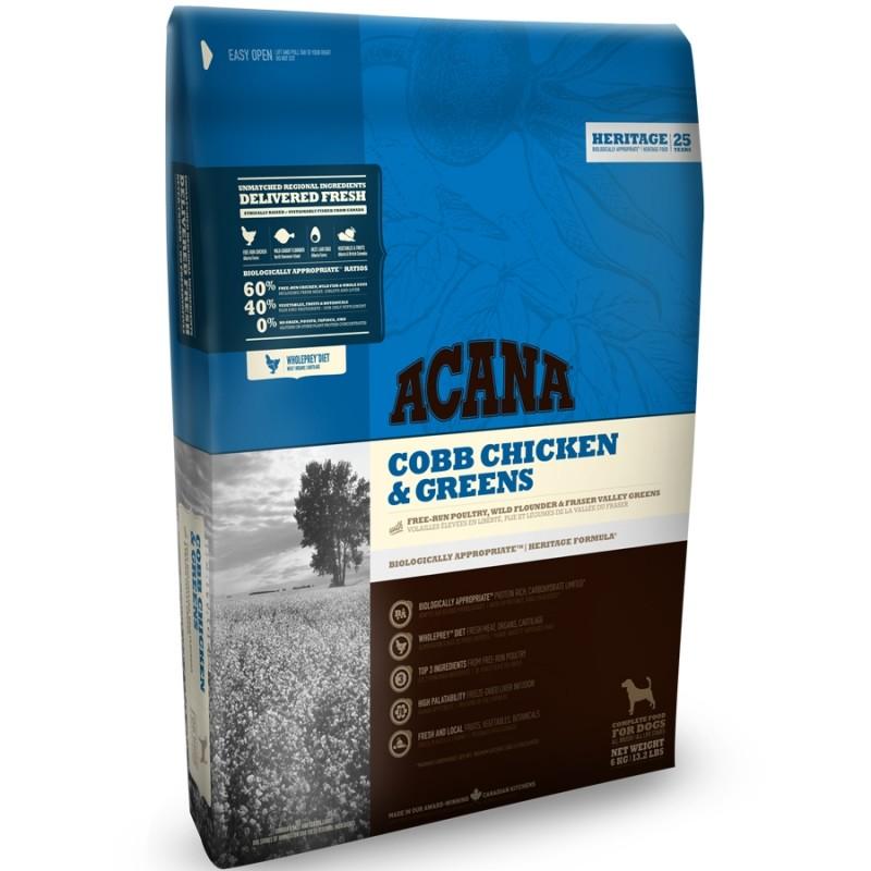 Acana Heritage Cobb Chicken & Greens Сухой корм для собак всех пород и возрастов, Цыпленок с зеленью