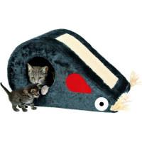 "TRIXIE Домик д/кошек ""Topi"" с когтеточкой, серый, плюш 53*31*32см"