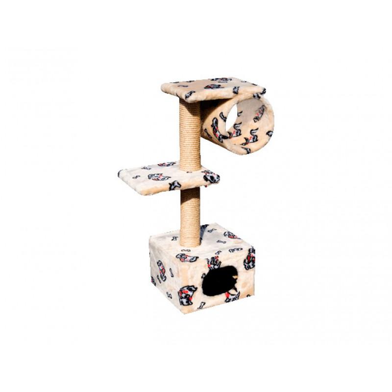 Зооник Дом д/кошки с 2-мя площадками и трубой (цв.мех) 400*360*980