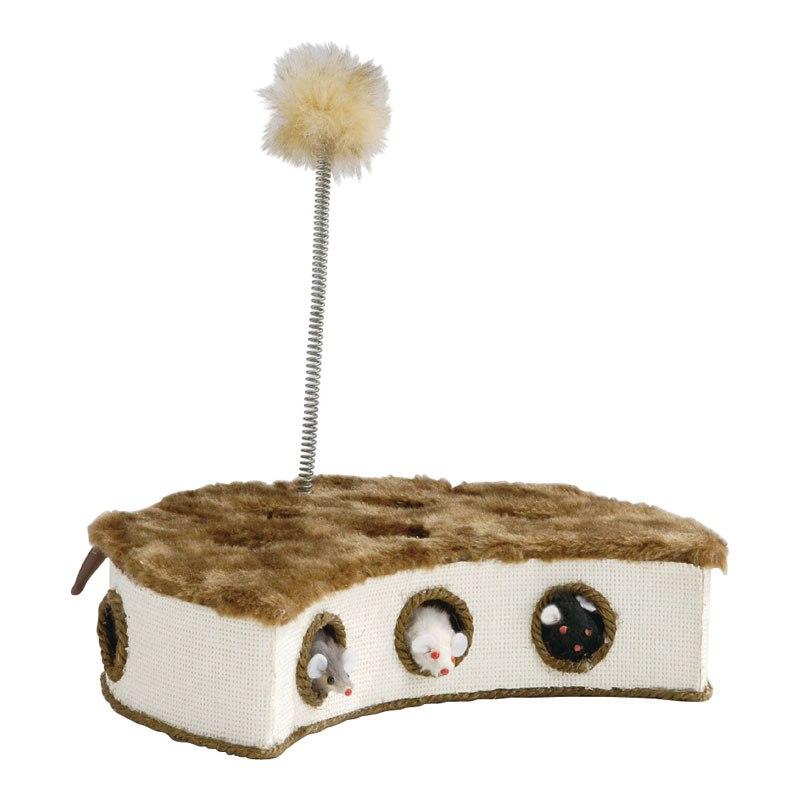 Коробка-когтеточка с выпрыгивающими мышками и пером 32*18 см
