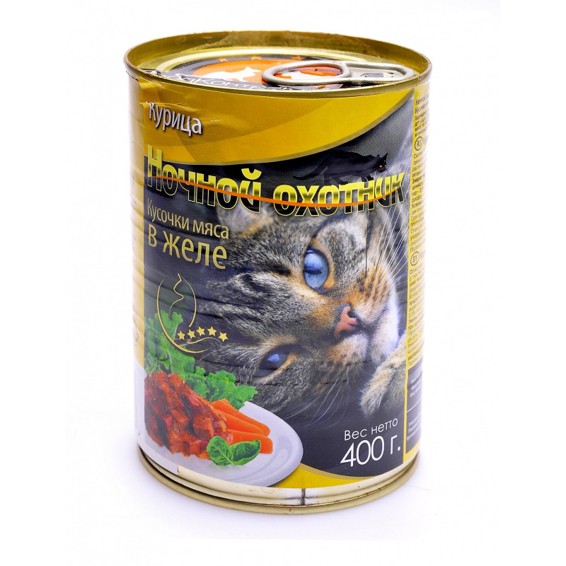 Ночной Охотник  кон.д/кошек Курица 400г
