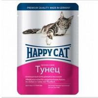 Happy cat  пауч д/кошек кусочки в желе Тунец 100г