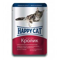 Happy cat  пауч д/кошек кусочки в соусе Кролик 100г
