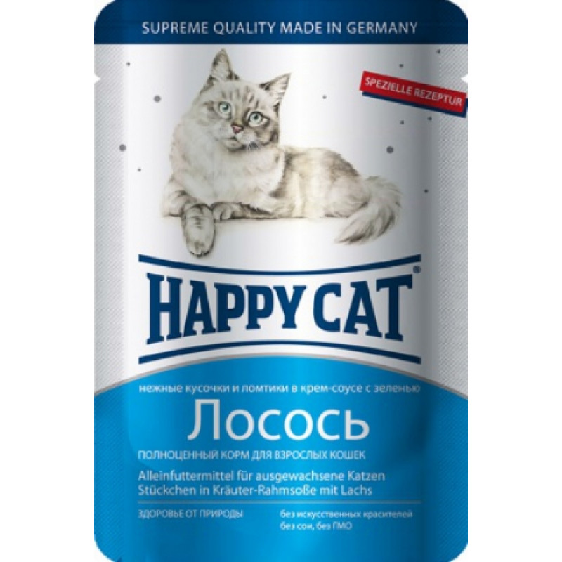 Happy cat  пауч д/кошек кусочки в соусе Лосось Ломтики 100г