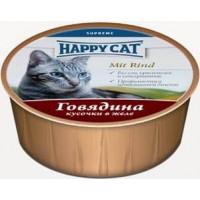 Happy cat  кон.д/кошек Паштет Говядина кусочками 100гр