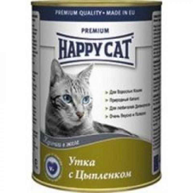 Happy cat  кон.д/кошек Утка и Цыпленок кусочки в желе 400гр