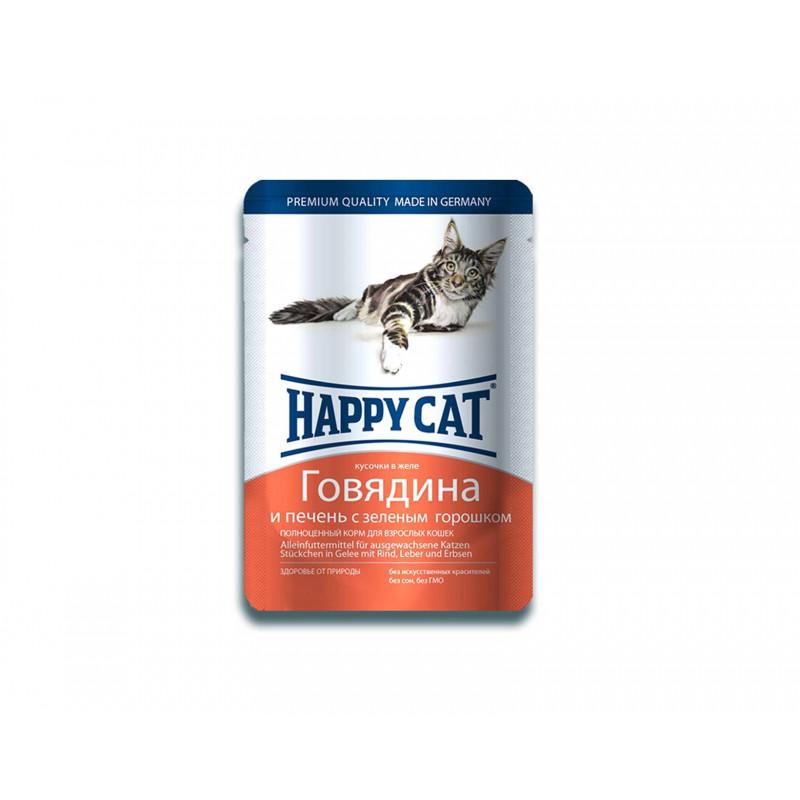 Happy cat пауч д/кошек кусочки в желе Говядина и Печень с зеленым горошком 100г