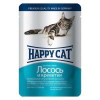 Happy cat  пауч д/кошек кусочки в желе Лосось и Креветки 100г