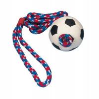 """Игрушка д/собак """"Мяч футбольный на веревке"""", мягкая резина ф6см*100см"""