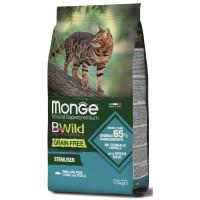 Monge Cat BWild Grain Free с тунцом и горохом Сухой беззерновой корм для стерилизованных кошек 1,5 кг